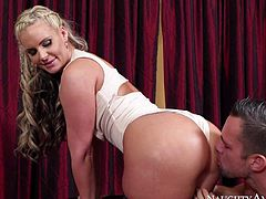 Heavy chested and stunning blonde hottie Phoenix Marie enjoys in pleasing her lover Johnny Castle and gives him a nasty cock sucking and riding session in front of the cam