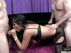 Impressively hot and surely versatile brunette is the owner of awesome big boobs. Appetizing cutie kneels down to give super solid and unforgettable blowjobs to two strong dicks. Check out hot blowlerina in Pornstar sex clip and you'll jizz right away.