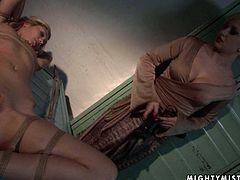 Hot blonde Cindee gets her nipples squeezed and sucked by hot mistress