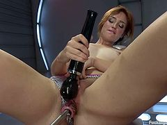 Adorable brown-haired girl Jodi Taylor is having fun indoors. She gets her snatch banged by a sex machine and then tests one more fucking device.