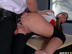 Brooklyn Chase gets caught stealing exam answers from teachers office. Night watchman gives her the punishment and the one is his hard dick drilling her mouth and pussy. Watch handcuffed bad girl get her twat drilled from behind.