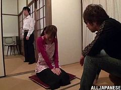 Petite Japanese chick is having fun with some dude indoors. She stands on all fours and allows the guy to come up from behind and drill her juicy snatch doggy style.