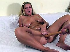 Gosh, I bet you've never seen such a voracious and spoiled wanker, as this whorish gal in 21 Sextury xxx clip. Booty and busty plump nympho goes solo on cam. Oiled whorish chick has no dildo and enjoys poilshing her wet pussy with a baseball bat.