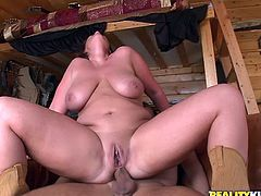 Chubby and naughty farmer girl loves having anal sex. So she had a visitor, who wanted to buy her farm. She is going to defend it with her ass!