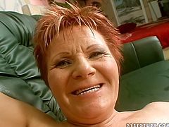 21 Sextury xxx clip provides you with a whorish red and short haired old lady. This plump and pale nympho with droopy tits groans while getting her wetcunt fucked doggy rough.