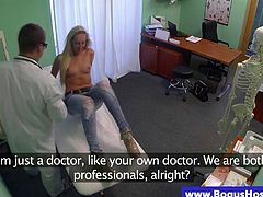 Doctor massages her patient with hot ass
