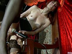 Maitresse Madeline Forcing Guy to Eat Her Pussy while She Rubs Vibrator