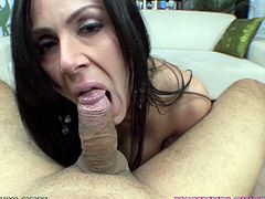 Adorable milf with naughty skills enjoys giving blowjob in POV session