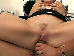 Pretty fellow with huge cock is having threesome pounding with Defrancesca Gallardo and Tara White. Both nymphs are getting their mouths, pussies and assholes nailed.