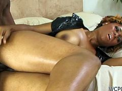 Cathy Heaven takes a huge cock in her sweet black pussy. She's screaming of delight over and over again.