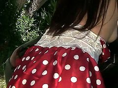Pretty petite Japanese babe Marica Hase with slim body and natural boobies in red tempting skirt polishes her tight cunny to squirting orgasms in outdoor action filmed in pint of view.
