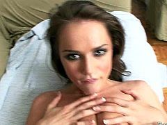 Brunette temptress Tori Black likes to feel in control of her lover's cock and fuck him to orgasm. She takes his dick up her sweet pussy and rides her boyfriend like a true cowgirl. Then she spreads her legs wide for missionary style pounding.