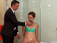 A sweet teen like Jodi needs a man's firm hand and Lee knows how to make her a good girl out of her. First he grabs her by the neck, puts her to take off those short jeans and then plays with her tight ass. Next it's time for a clean up so Lee takes her in the bathroom where she blows him and takes a bath