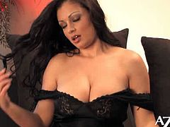 Aria Giovanni is a pro when it comes to showing off her curvy body. She shows her massive boobs last.