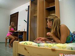 Two tempting girlfriends are kissing each other passionately and exploring each others slit. Enjoy two libidinous lesbians in seventeen sex tube video for free.