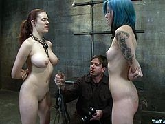 Iona Grace and Krysta Kaos are playing dirty games with some dude in a basement. They get bound by the dude and let him beat them before they show their nice pussy-eating skills.