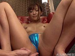Sexy Japanese bitch Kokone Mizutan shows her holes to her BF and allows him oil and rub her cunt and butt. Then the guy takes two dildos and pokes them into the hussy's holes.