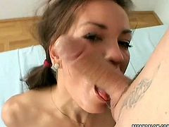 The girl knows how to treat a good, stiff cock! She takes her lover's dick in her mouth and sucks it fervently paying special attention to his balls. Then she gets her pussy licked properly.