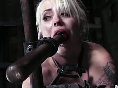 Kinky blonde girl gets chained and gagged. Later on she gets her ass spanked painfully, so that her ass becomes red. After that she also gets toyed deep in her pussy.