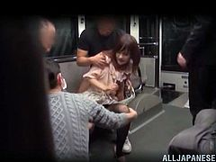 Hidden camera catches an amazing scenes. Some sleeping Japanese chick gets her her pussy and tits fondled by a group of guys. Then she sucks their cocks and gets facialed.
