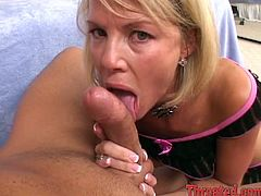 Cock hungry blonde chick in lingerie stands on her knees and blows big dick skillfully. After that she gets her face covered with sperm.