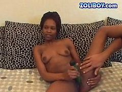 Worn out Ebony prostitute shows off her charms to a horny white client. Later she lies with legs wide open to poke her vagina with a slim dildo.