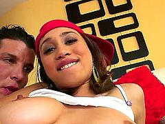 Tender Latina Nikara gulps down a stiff boner. She moans and groans while her tight ass is penetrated but still craves for more while her pussy is bonked.