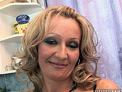 Cum addicted blond housewife has fun with her strong paramour. Slim pale harlot with small tits gets rid of black panties and begs to fuck her mature cunt missionary right in the kitchen and right after giving a solid blowjob for sperm.