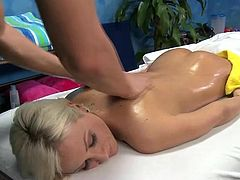 Cute blonde Lexi seduced and fucked hard by her massage therapist
