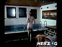Watch this classic vintage scene where three beautiful babe with natural tits and sex appealing bodies swimming naked in the pool,You will love to see them getting naughty.Enjoy!