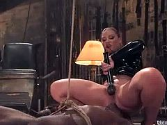 Flower Tucci is going to humiliate and ride this black guy's cock in this femdom session packed with bondage and torturing action.
