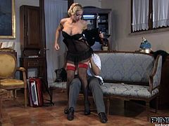 Vittoria Risi is a blonde milf with perfect tits and nice tight pussy. She is having fun on the couch and takes his big cock deep inside her hole!