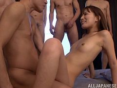 Kokone Mizutan is going to be fucked by just one of these guys in this gangbang, but the rest will cum all over her body and face!
