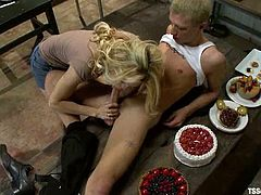 Awesome blonde ladyboy Paris is playing dirty games with Prince in some foul room. They pet each other and then Paris drills Prince's butt as hard as she can.