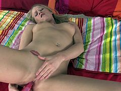 Watch Aiden Aspen cum all over her dildo in this solo clip as she takes off her clothes and masturbates with it while laying on her bed.