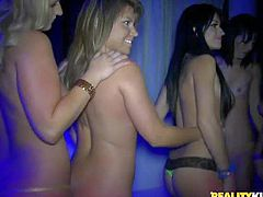 Savana Ginger, Dixie Belle, Megan Matthew are other sexy party girls bare their assets in the club. Chicks with perky tits go topless and then pulls down their thong panties. They display their round asses and neat pussies.