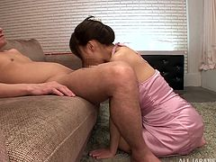This Asian wife is kind with her man. Chihiro Akino is the MILF's name and she's going to give him a blowjob.