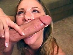 Hottie gives arousing blowjob and gets filled with warm cum all over her face
