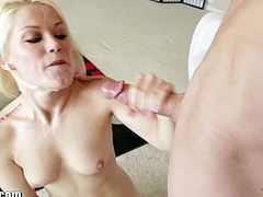Watch the alluring blonde slut Ash Hollywood gagging herself on her man's dong before giving him a hell of a handjob.