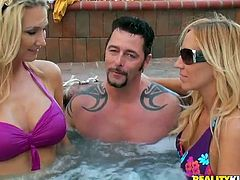 Hot blonde milf Blake Rose and her awesome GF are having fun with a horny man. They bathe with him in a pool ad then go indoors and have some dirty threesome banging there.