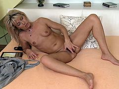 A dirty mature broad gets naked for the camera and fucking sticks fingers in her pink wet pussy, hit play and check it out!