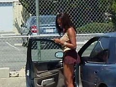 Slutty black chick gets out of the car in the parking lot. Dirty-minded chick in tight top mesmerizes a horny black man with her huge boobs. Surely this voracious dude seeks for a chance to fuck her wet cooch.