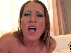 Mature mom has got curvaceous body, giant tits and rounded ample booty. She fingers her clam upskirt bending over the couch. Extraordinary porn video with BBW porn actress.