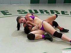 Izamar Gutierrez and Mistress Kara wrestle after a armwrestling competition. Later on they also lick each others pussies.