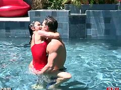 This is the kind of horny fantasy Dana Vespoli has always been dreaming of. Her hairy pussy opens wide as she welcomes this hunky pool stud's cock inside her.