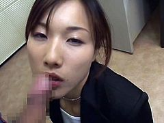 Adorable japanese chick gets filled with jizz during hot japanese bukkake session