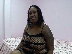 She is definitely a freak that loves to big hard black cocks.Watch her sandwich slaps him with her 42 Double N tits. Horny stud unleashed that big round ass,Introduces his big cock to her tight pussy and starts the smashing.Enjoy!
