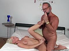Well, tonight this booty blondie goes nuts. Slutty pale nympho rides the gaffer's cock and her big ass moves up and down. Spoiled chick with natural tits desires to get her wet pussy fucked missionary and horny graybeard takes a chance to gain pleasure.