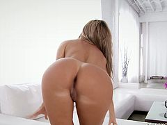 Jaw dropping blonde babe with fake tits go wild on the bed.She strokes her body and later masturbates her pussy. watch exciting solo girl sex video from 21 Sextury archive.
