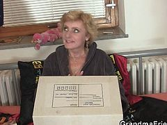 These two young delivery boys brought her a package with dildos inside. This granny doesn't have money to pay for them, but she offers them a good pussy and mouth fuck.